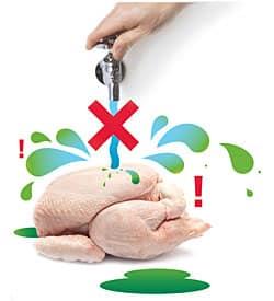 ne pas laver le poulet